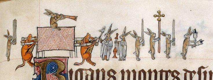 Rabbits in the funeral procession- Gorleston Psalter, England 14th century