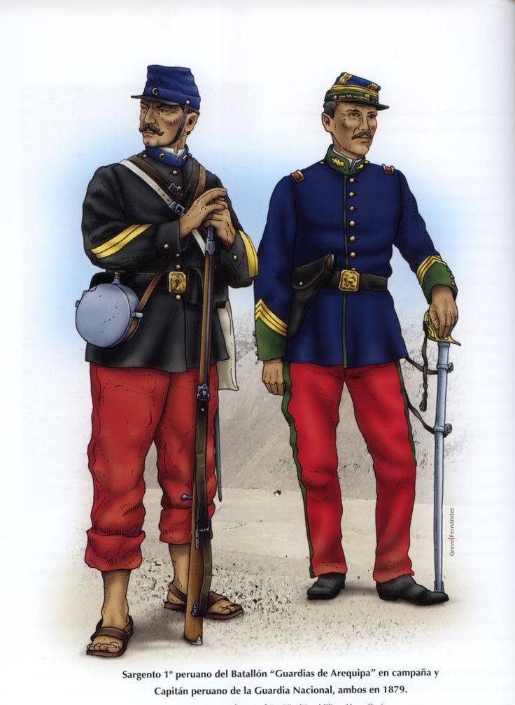 Peru; 1st Battalion Guardias de Arequipa, Sergeant, Campaign Dress & Guardia Nacional, Captain. 1879