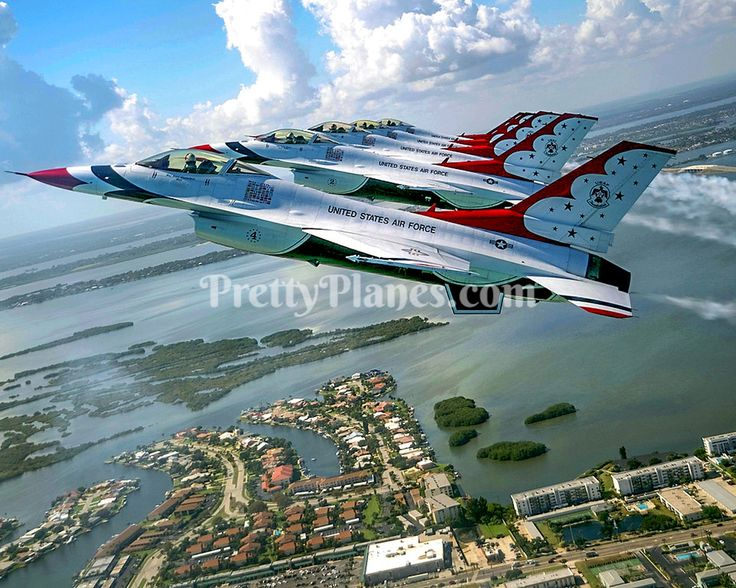 USAF Thunderbirds F16 Fighting Falcon 5Ship Formation