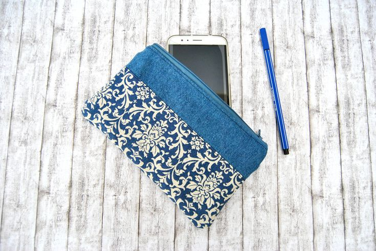 Wallet case clutch with zipper for money, card holder, phone case or document bag, in denim and damask fabric. by KatiaFabricStudio on Etsy