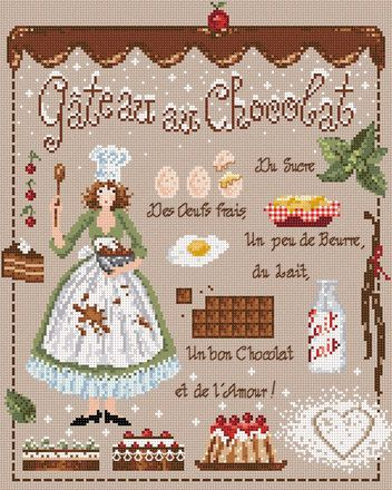 french valentine cross stitch pattern & charm at thecottageneedle.com Pastel de chocolate