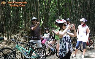 One family Riding Bike with kid and baby in bamboo forest with safety