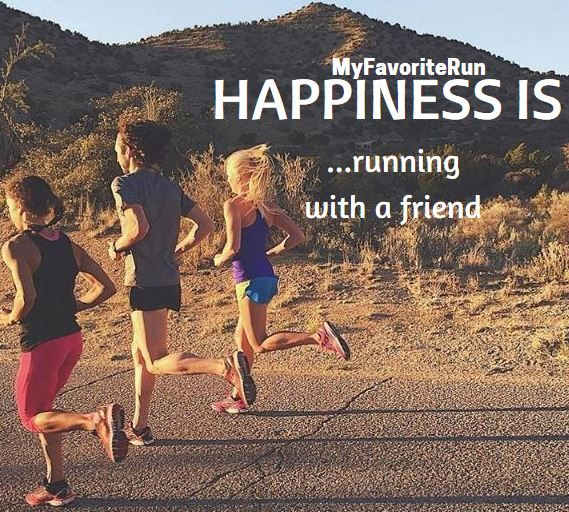 Happiness is . running with a friend.