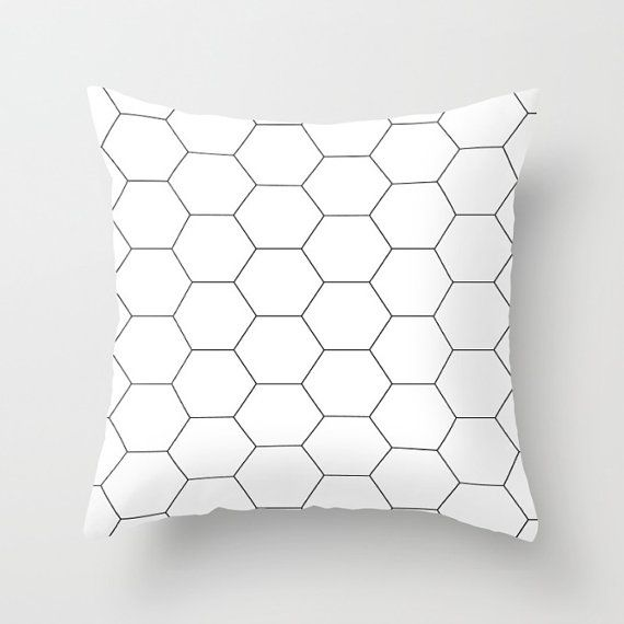 black u0026 white hexagon tile cushion cover throw pillow home decor geometric