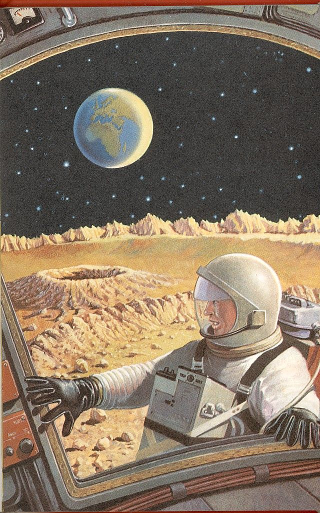 Space Future, Science Fiction, Astronaut, Retro Moon Shot 3
