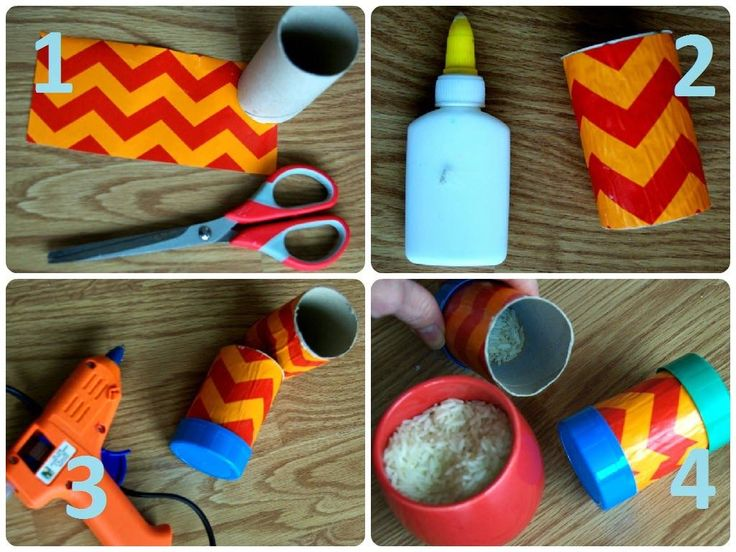 Il nous faut :     un rouleau de papier toilette  des ciseaux  un pistoletàcolle  deux bouchons de bouteille plastique de lait  du ri...