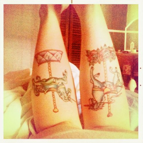 calf tattoo, this is so cute. Not my style, but love it.