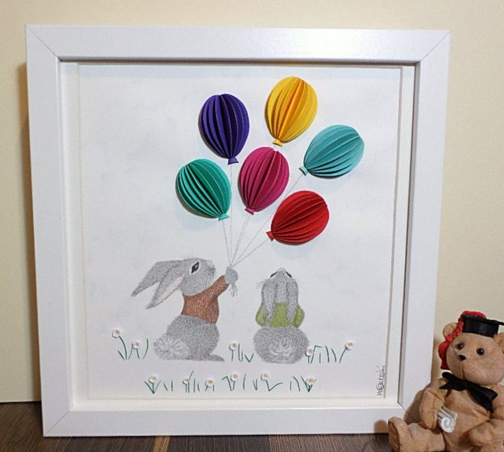 Nursery Bunnies Art; Nursery wall art of bunnies holding balloons; 3D paper art; Bunnies with Balloons; Colourful nursery original artwork. by QuillArtuk on Etsy