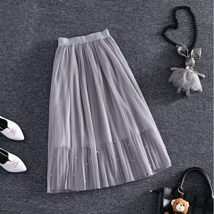 Elastische taille Kant bloem lengte rok 2016 nieuwe lente Koreaanse vrouwelijke Parel gaas rok Tutu rok lichaam elegante rok(China (Mainland))