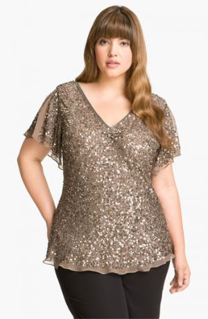 Bling top - Adrianna Papell Sequin Chiffon Top - Mink.jpg Big beautiful curvy real women, real sizes with curves, accept your body sizes, love yourself no guilt, plus size, body conscientiousness fashion, Fragyl Mari embraces you!