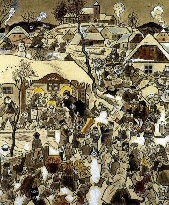 Josef Lada Narodil se 1926 kolorovaná kresba tuší