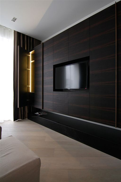 Latest Tv Unit Design: All About The Wood Paneling And Built-in/flush-mounted