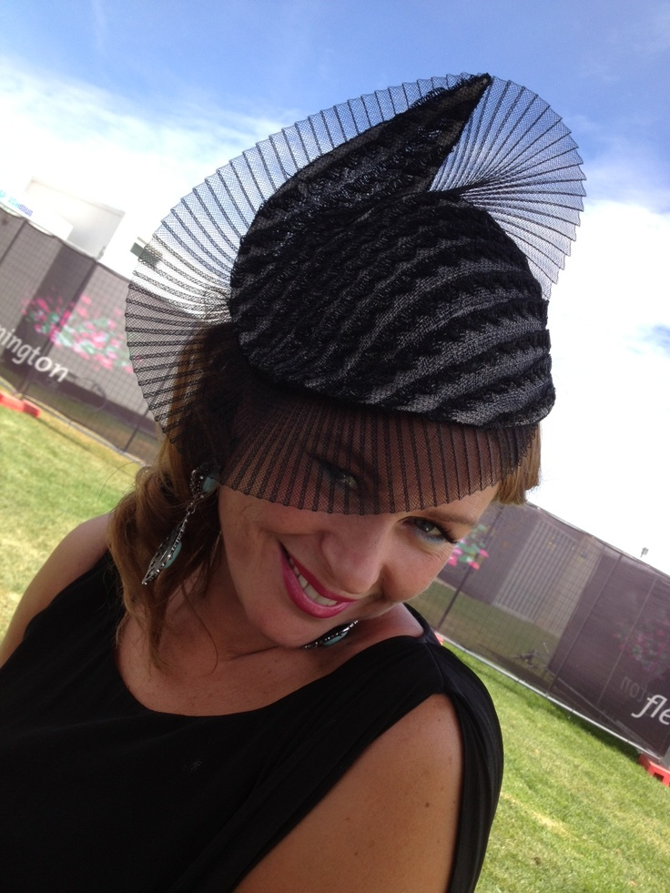 Ilde from Starlettos wearing Izziana Millinery at Derby Day, Melbourne