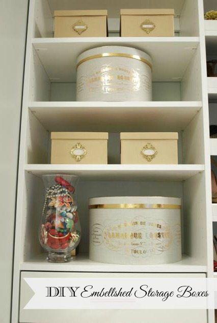 DIY embellished storage boxes