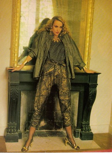 Yves St. Laurent ad campaign Vogue 1985 model Jerry Hall