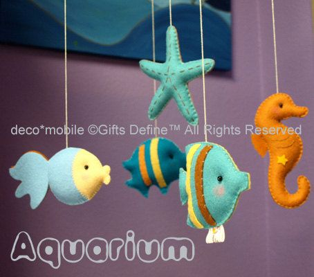 Crib Baby Mobile with AQUARIUM Under the Sea Theme Nursery (Artist Choice Colors) -  Custom Art Mobile Hand-Crafted for Nursery Decor. $130.00, via Etsy.