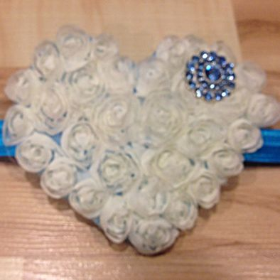 Large Whimsical Heart - White and Blue Jewel