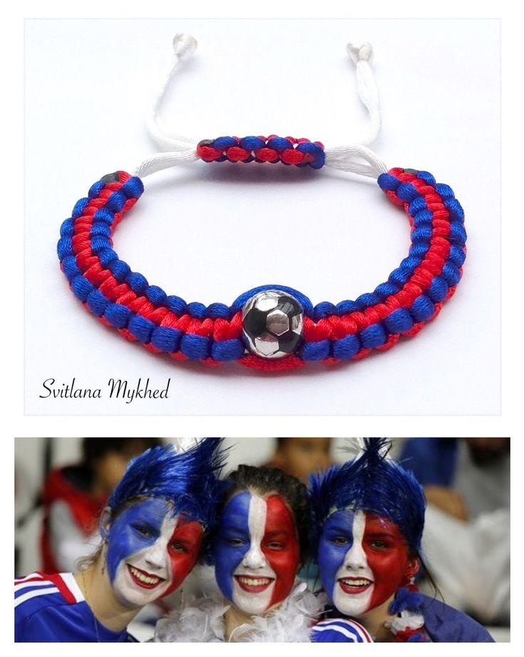 """Bracelet """"France. Foot. Football. Ballon de foot"""" ( réversible) : Bijoux pour hommes par perles-et-couronnes"""