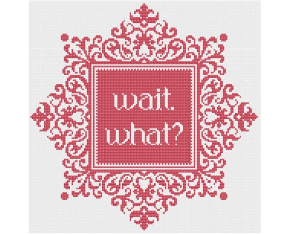 Wait. What? - Counted Cross Stitch Pattern by HornswoggleStore, $5.00 (silly, funny, snarky, subversive, easy)