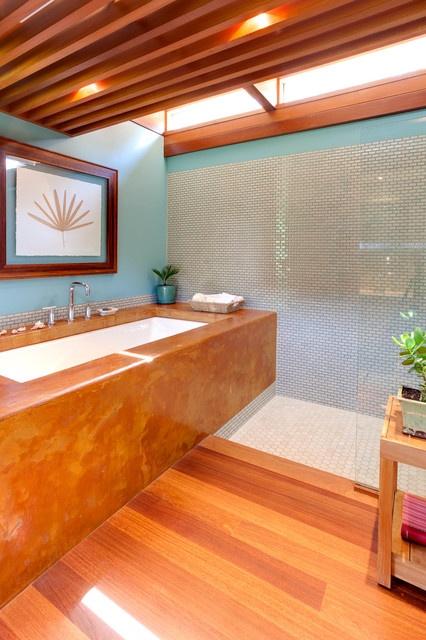Wood, aqua and white trough sink in modern style bathroom!