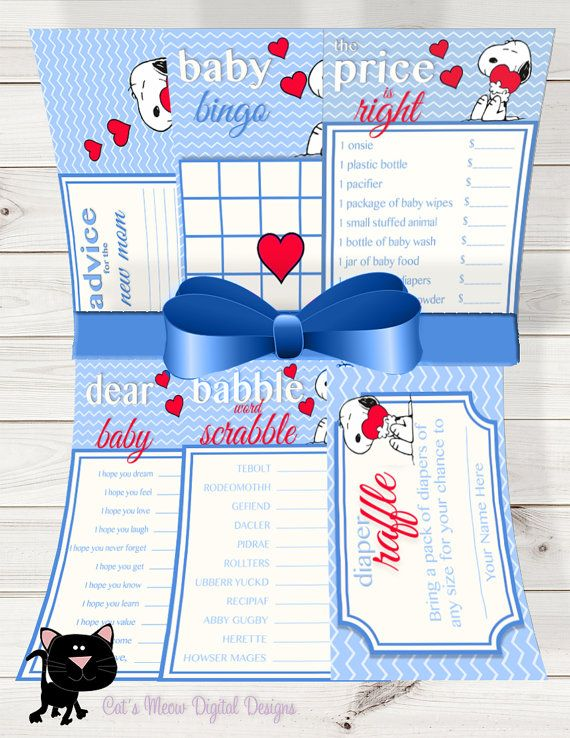 Snoopy Baby Shower Games Value Pack ~Printable~INSTANT DOWNLOAD                                                                                                                                                                                 More