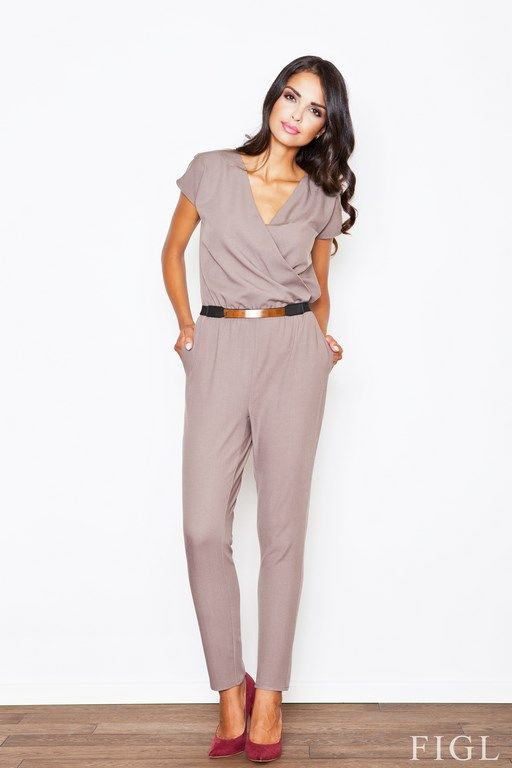 Elegant beige jumpsuit women with a decorative belt