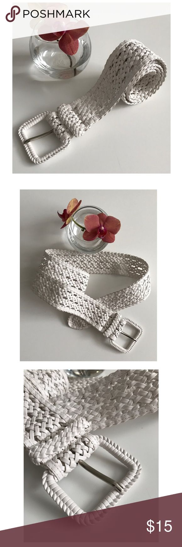 WHite Weaved Belt (pleather) Beautiful white weaved belt ... Not real leather (listed under Nast gal for visibility) Nasty Gal Accessories Belts
