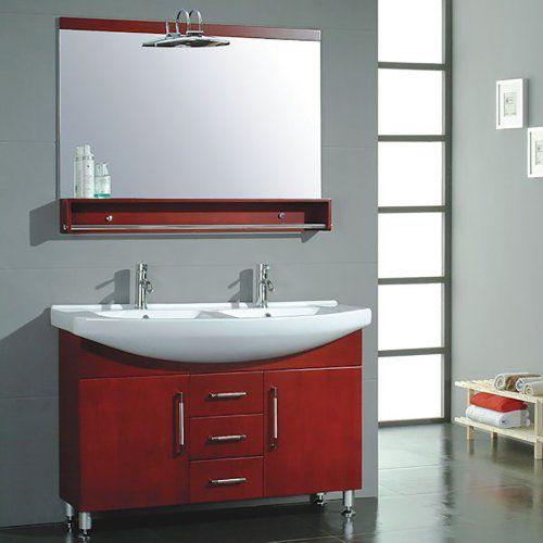 """48-inch Red Cherry Wood & Porcelain Counter Top with 2 Sinks Vanity Set- """"Douglas"""" (Brushed Nickel Faucets) The Tub Connection http://www.amazon.com/dp/B00KDNZUWC/ref=cm_sw_r_pi_dp_7maPwb0JY2KZ9"""