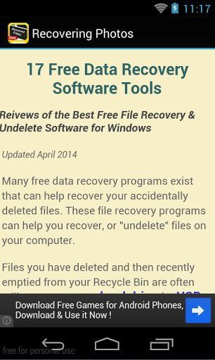 This is the best app Recovering Deleted Photos Content Applications.<br>It's easy to restore files using Recovering Deleted Photos. Here's how and Free Tips , all u need to do is download our FREE Retrieve Deleted Photos app guide and follow the steps mentioned inside of it.<p>When you delete pictures on computer running Microsoft Windows or on a memory card, the link to the data disappears, but the data still remains until overwritten by new files. If you act quickly, you may be able to…