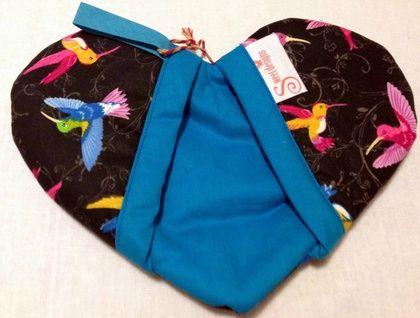 Pretty Heart Shaped Oven Mitt - Hummingbirds.