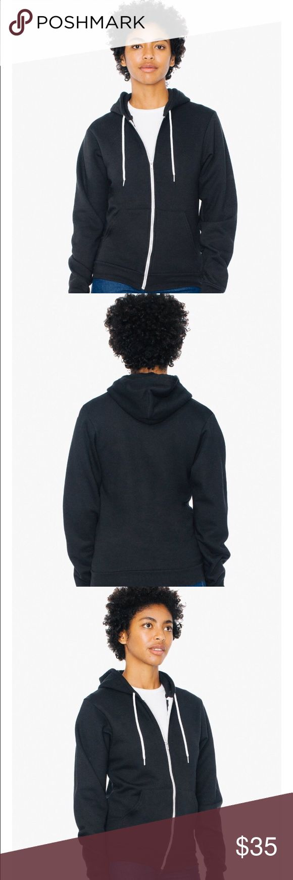 """Unisex Flex Fleece Zip Hoodie Best Seller. A fitted unisex zip-up hoodie with kangaroo pocket and drawstring hood. Constructed from our extra soft and durable Flex Fleece. • Flex Fleece (50% Polyester / 50% Cotton Fleece) construction • Medium is approximately 23 3/4 (60.32cm) in total length • Metal zipper • Hooded with White finished Polyester drawcord • Kangaroo pocket • True to size • Unisex size – women may prefer to order one size down. Model is 5'9"""" and wearing a size S. American…"""