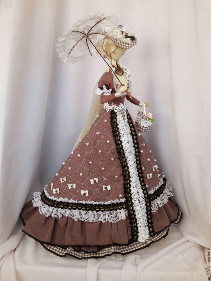 Купить Текстильная кукла.Тряпиенса.Александра. - бежевый, тряпиенса, корейские тряпиенсы, зонтик, текстильная кукла ♡