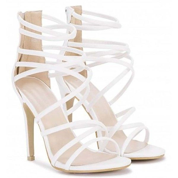 Koi Couture White Strappy Sandals Stilettos Peep Toes High Heels ($38) ❤ liked on Polyvore featuring shoes, sandals, white stilettos, high heels sandals, strappy heeled sandals, white shoes and peep toe sandals