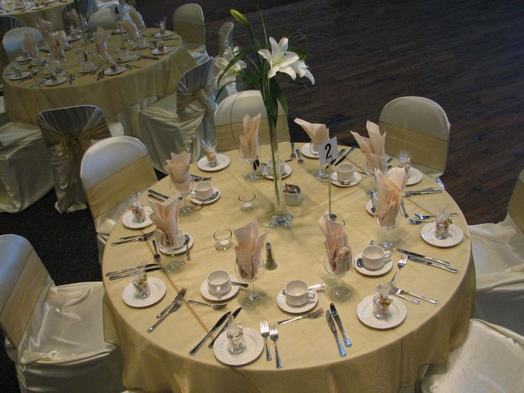 Another beautiful wedding at the Safari Lodge at the Calgary Zoo.  Shown here are the ivory envelope chair covers with gold organza sashes and matching gold organza overlays.