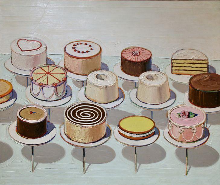 Wayne Thiebaud Cakes, 1963, oil on canvas