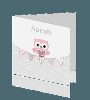 Trendy geboortekaartje voor meisjes met roze uil en hartjes