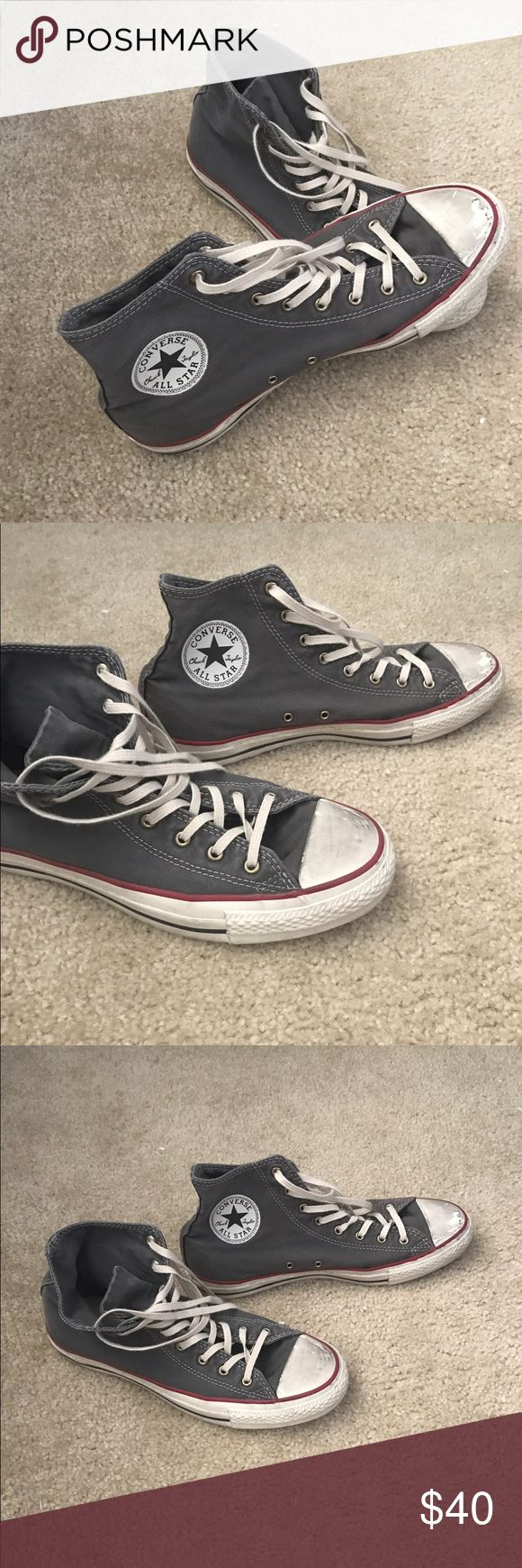 Pre-distressed High-Top Converse Pre-distress/pre-scuffed (bought from Converse store in this style) high-top converse in great condition! For both men or women. Used only about twice and is a women size 10, men size 8. Originally $65, but selling for $30 Converse Shoes Sneakers