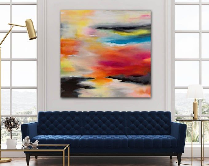 Large Colorful Panoramic Horizontal Abstract Wall Art Modern Contemporary Artwork Acrylic Painting On Canvas Long Slim Oversize 36 X 72 In 2020 Abstract Wall Art Original Fine Art Acrylic Painting Canvas