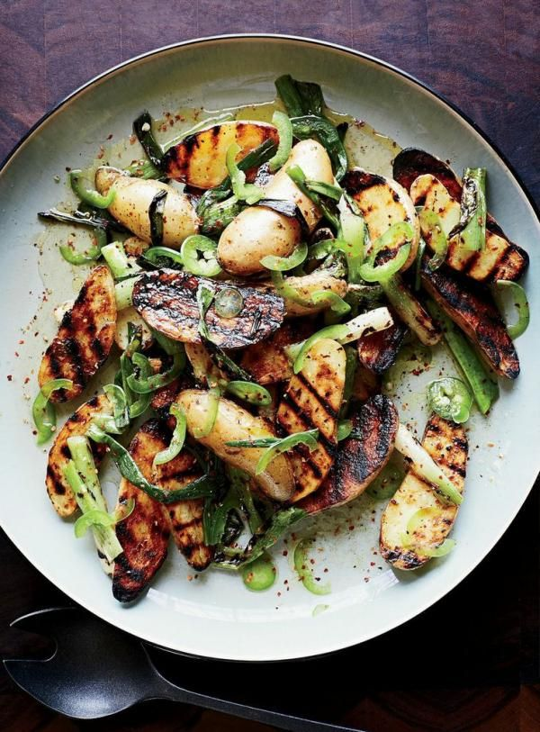 This excellent potato salad recipe boasts both grilled fingerlings and a dressing made with grilled scallions.