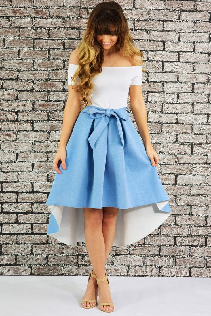 Tea Party Dress: White/Powder Blue #shophopes