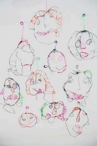 wire portraits... maybe contour line drawing, then use drawing as a guide: kids lay wire on top of drawing while they sculpt