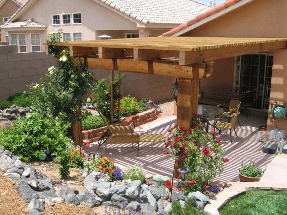 Southwest small high desert back yard oasis yards design for Outdoor spaces landscaping