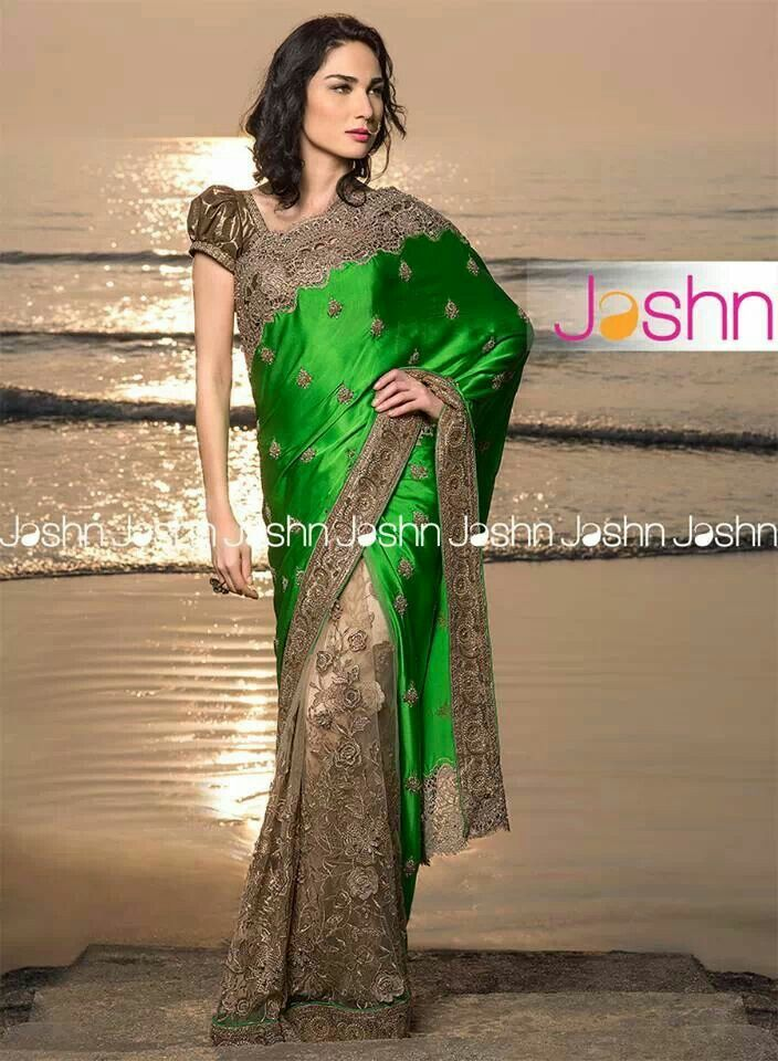#Jashn #hheirloom #emerald #green #crochet #cutwork #embroidery #bridal #Saree