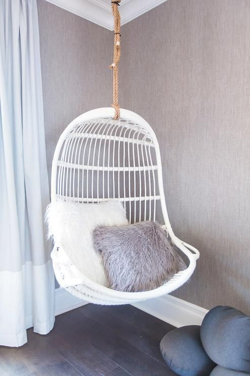 Swing On A Serena Lily Hanging Rattan Chair In Corner Of Nursery E Ed With Set Faux Stone Pillows Rattanchair