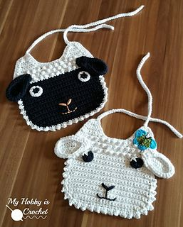 This sweet crochet lamb bib would make a nice Easter or baby shower present. The butterfly applique is optional, a sweet embellishment for baby girls.