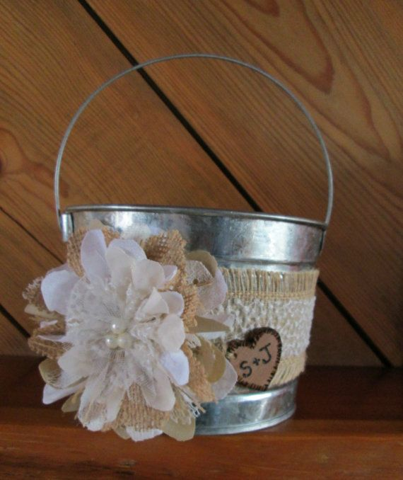 Personalized Flower Girl Bucket - Burlap and Lace Wedding Basket - Rustic Flower Girl Basket - Wedding Basket on Etsy, $22.00