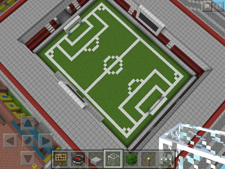 Look what I built on minecraft a soccer field