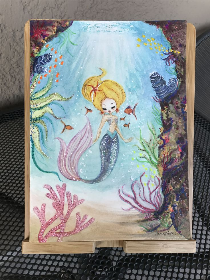 Mermaid Painting • aquarelle with watercolours and acrylics  #fabercastellwatercolours