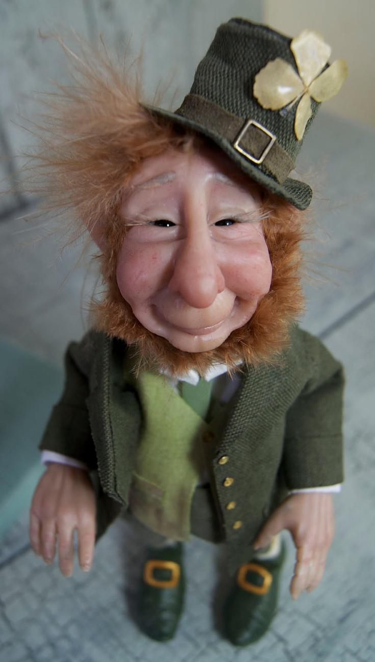Lucky Irish Leprechaun fantasy art doll.  via Etsy.   So adorable.