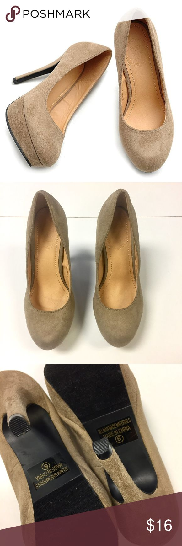 """JUST REDUCED❗️NEW Ollio High Heel Pumps Faux Suede PRICE FIRM unless bundled. These Ollio Women's platform high heel shoes are brand new. Never worn. Still has sticker on bottoms. They are currently for sale on Amazon for $32.99. Very versatile! You can wear these with anything. Color: Tan. Faux Suede. Size 6. Heel measures approx. 5"""" and platform measures approx. 1"""". Fits true to size. Cover photo is a stock photo. Original photos are after :) Does not include original shoe box. Nordstrom…"""